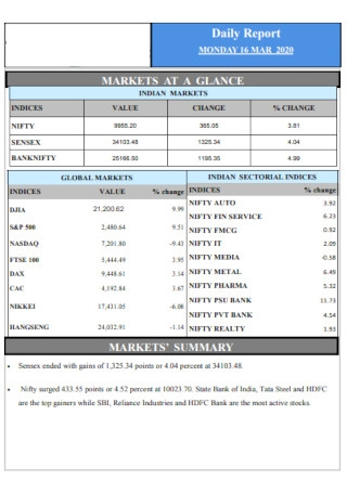 Printable Daily Report Template