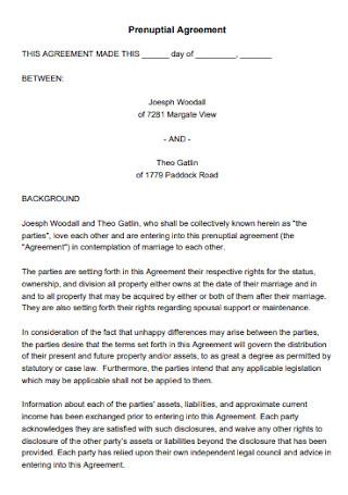 Printable Prenuptial Agreement Template