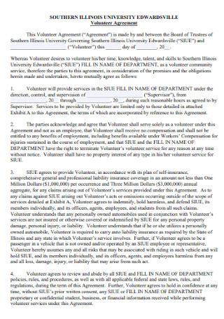 Printable Volunteer Agreement Template