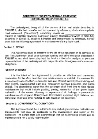 Private Road Easement Agreement Template