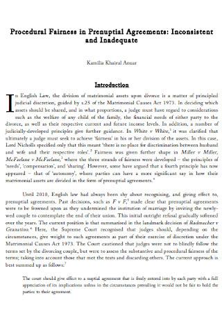 Procedural Fairness in Prenuptial Agreements