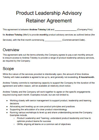 Product Leadership Retainer Agreement