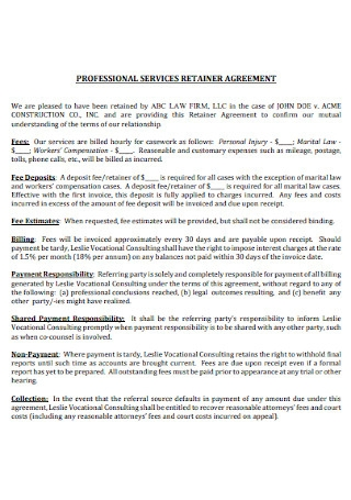 Professional Service Retainer Agreement