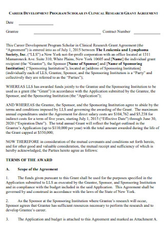 Program Research Grant Agreement