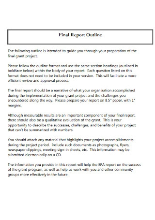 Project Final Report Outline Template