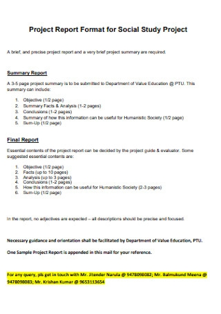 Project Report for Social Study Format