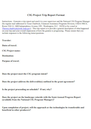 Project Trip Report Format