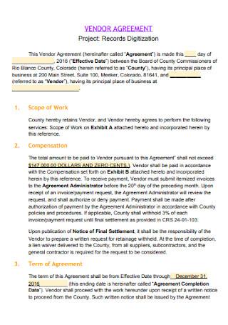 Project Vendor Agreement