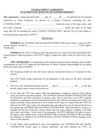 Property Encroachment Agreement