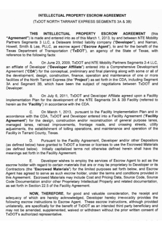 Property Escrow Agreement