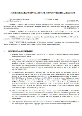 Property Non Disclosure Agreement