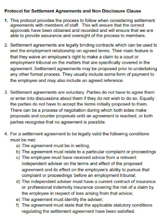 Protocol for Settlement Agreements