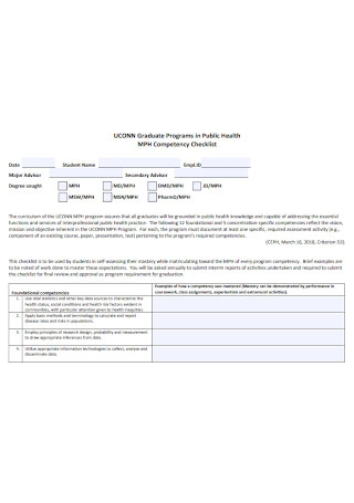 Public Health Competency Checklist