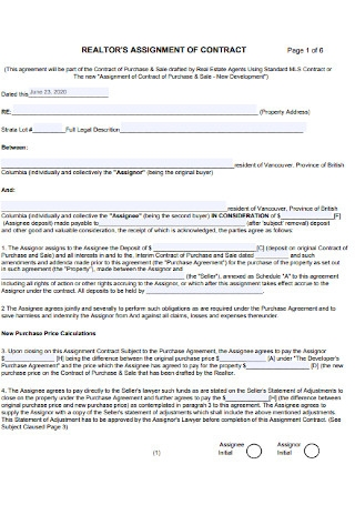 Realtors Assignment Contract Template