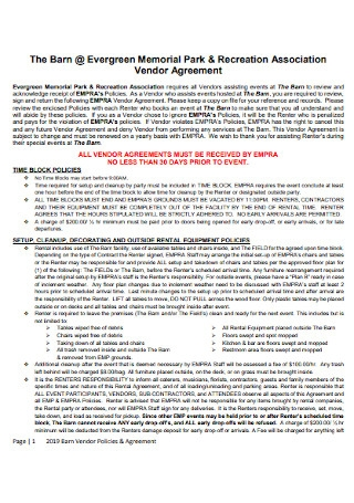 Recreation Association Vendor Agreement