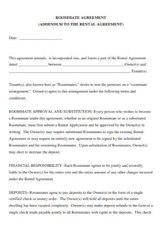 Rental Roommate Agreement
