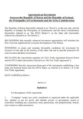 Republic Investment Agreement