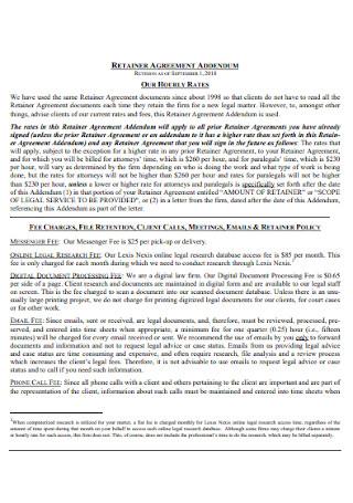 Retainer Agreement Addendum Template