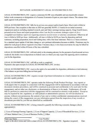 Retainer Agreement Legal Econometrics