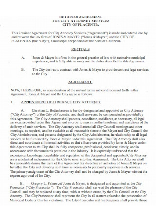 Retainer Agreement for City Service