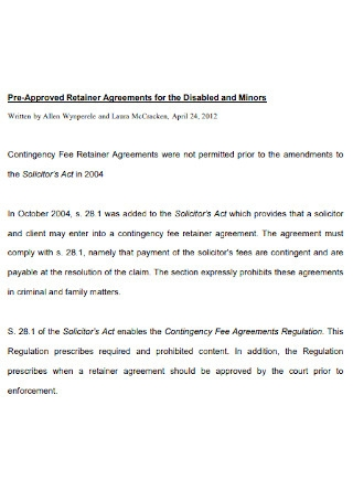 Retainer Agreements for the Disabled