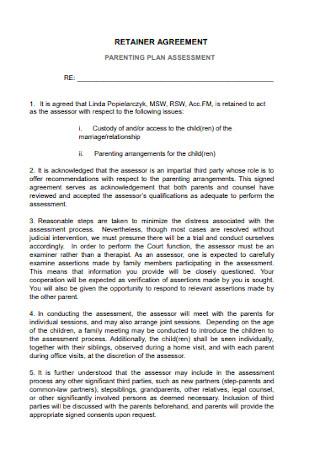 Retainer Parenting Plan Agreement