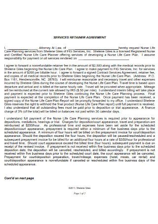 Retainer Service Agreement