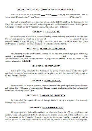 Revocable Encroachment Licence Agreement