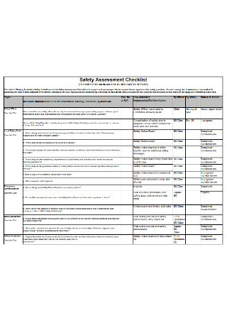 Safety Assessment Checklist