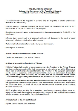 Sample Arbitration Agreement Template