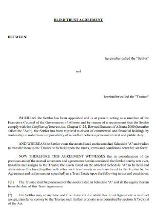 Sample Blind Trust Agreement
