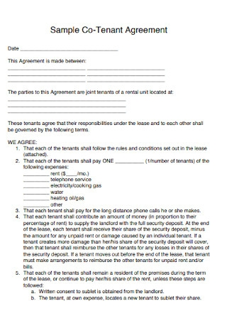 Sample Co Tenant Agreement Template