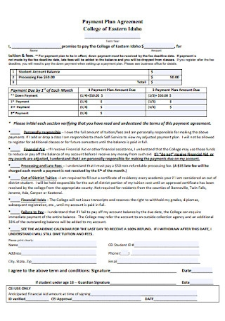 Sample College Payment Plan Agreement