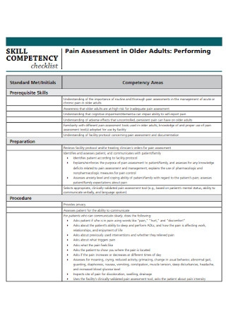 Sample Competency Checklist Template