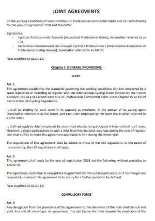 Sample Joint Agreement Template