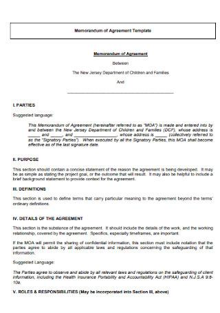 Sample Memorandam Agreement Template