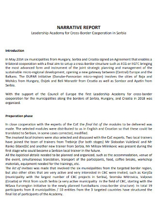 Sample Narrative Report Template