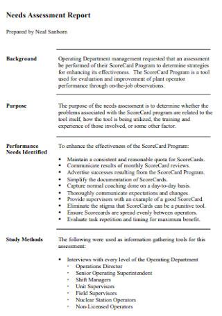 Sample Needs Assessment Report