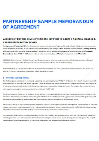 Sample Partnership Memorandum Agreement