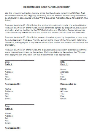 Sample Recomended Arbitration Agreement