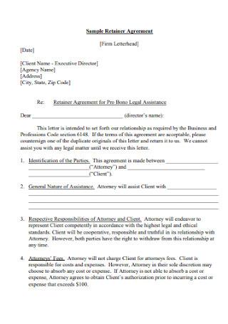 Sample Retainer Agreement Letter
