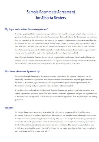 Sample Roommate Agreement for Renters