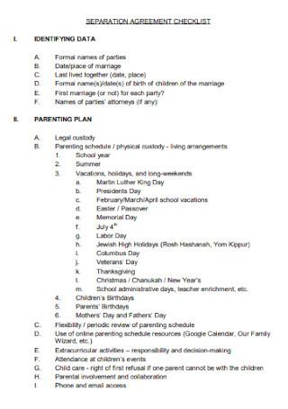 Sample Separation Agreement Checklist