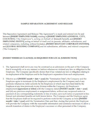 Sample Separation Agreement Template