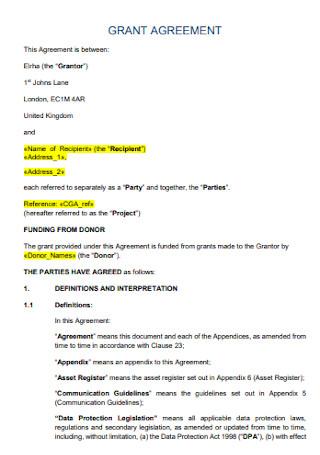Sample Sub Grant Agreement