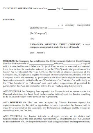 Sample Trust Agreement Template