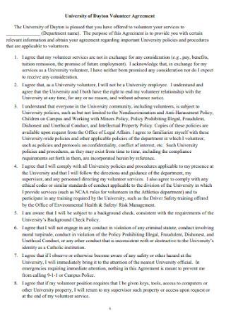 Sample University of Volunteer Agreement