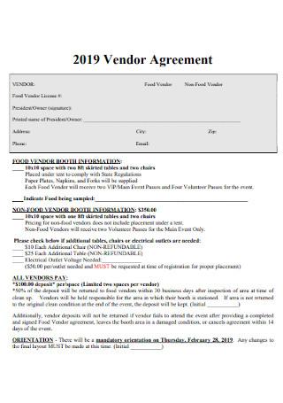Sample Vendor Agreement Template