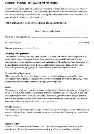 Sample Volunteer Agreement Form