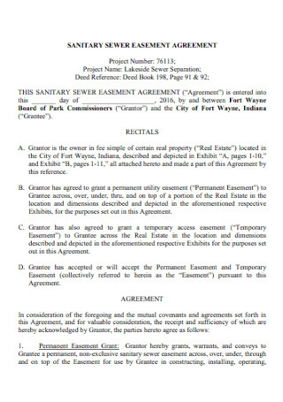 Sanitary Sewer Easement Agreement